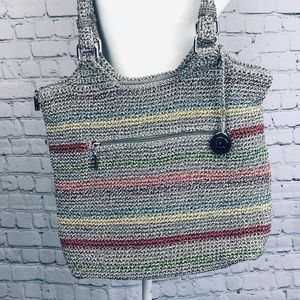 The Sake Belle Purse Tote Striped Crocheted Taupe